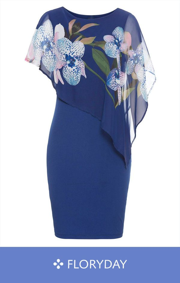 Plus Size Floral Short Sleeve Knee-Length Sheath Dress
