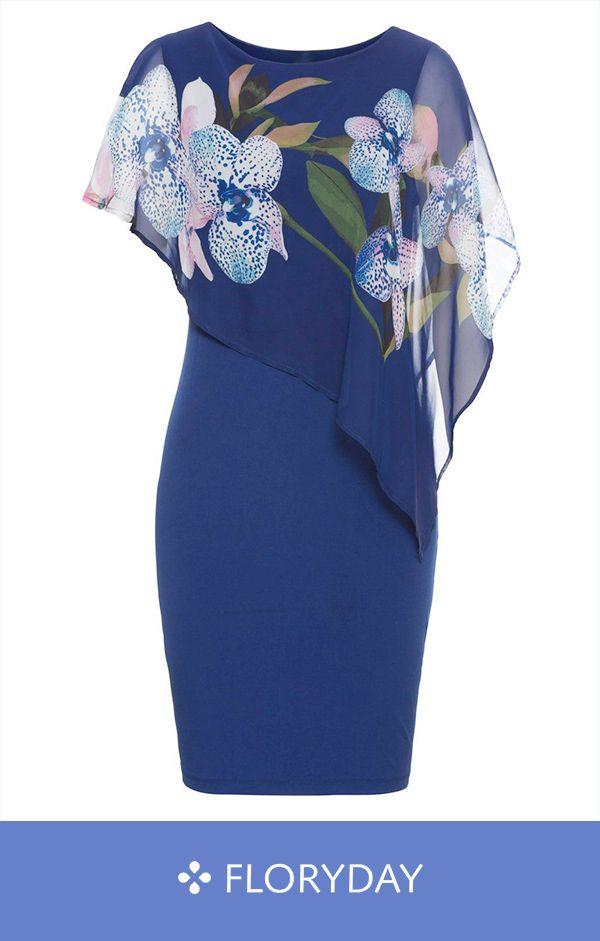 Plus Size Floral Short Sleeve Knee-Length Sheath Dress