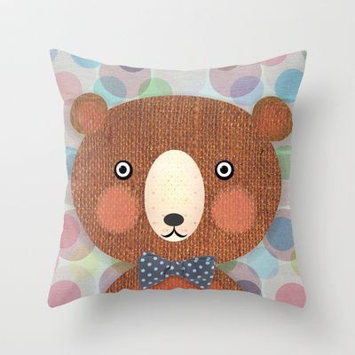 Mr. Bear Throw Pillow by Silva Ware by Walter Silva - $20.00