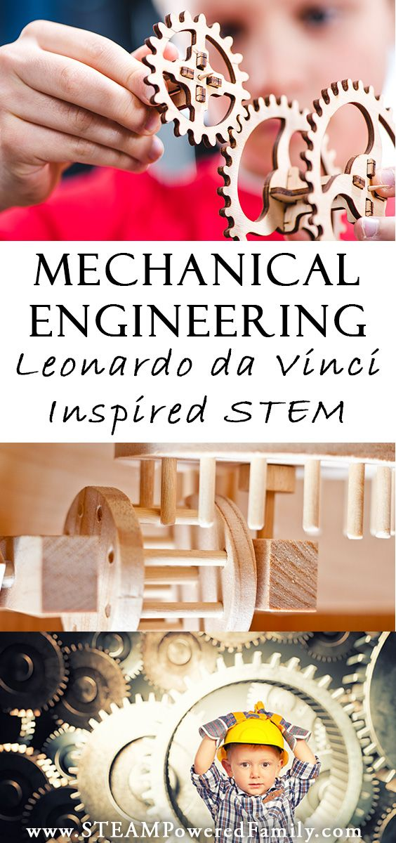 Mechanical engineering for kids: the study of machines is a stem study for kids interested in how things work, just like Leonardo da Vinci via @steampoweredfam