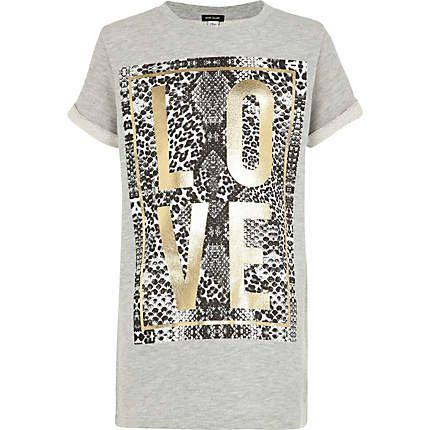 Girls grey foil print love sweat t-shirt £14.00