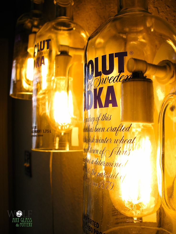 recycled absolut bottles wall sconce lamps the art of. Black Bedroom Furniture Sets. Home Design Ideas