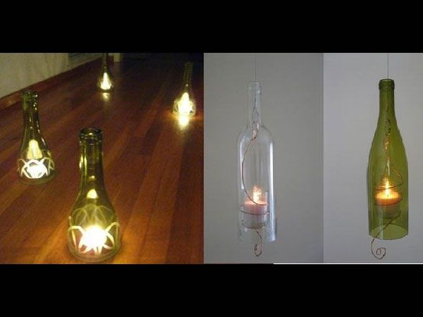 Bottle lanterns- They look great and can add a different colour to the interior lighting. Cut the end of the bottle and hang with a strong steel wire. If you cannot hang, use it simply to cover the candles.