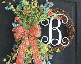 Grapevine Wreath Monogram Wreath Summer Wreath by OurSentiments