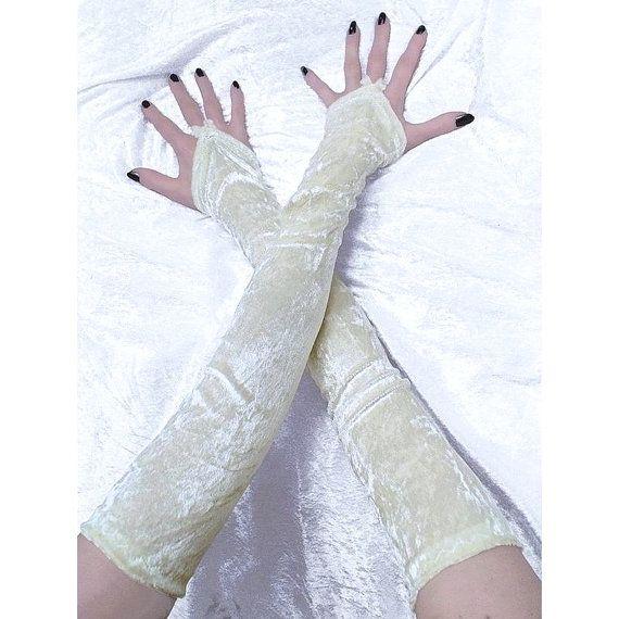 bridal ivory velvet fingerless gloves bridal by FashionForWomen
