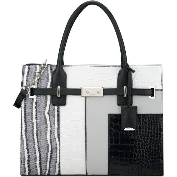 Nine West Internal Affairs Large Tote ($99) ❤ liked on Polyvore featuring bags, handbags, tote bags, color block, structured tote bag, nine west purses, handbags totes, nine west tote bags and white tote