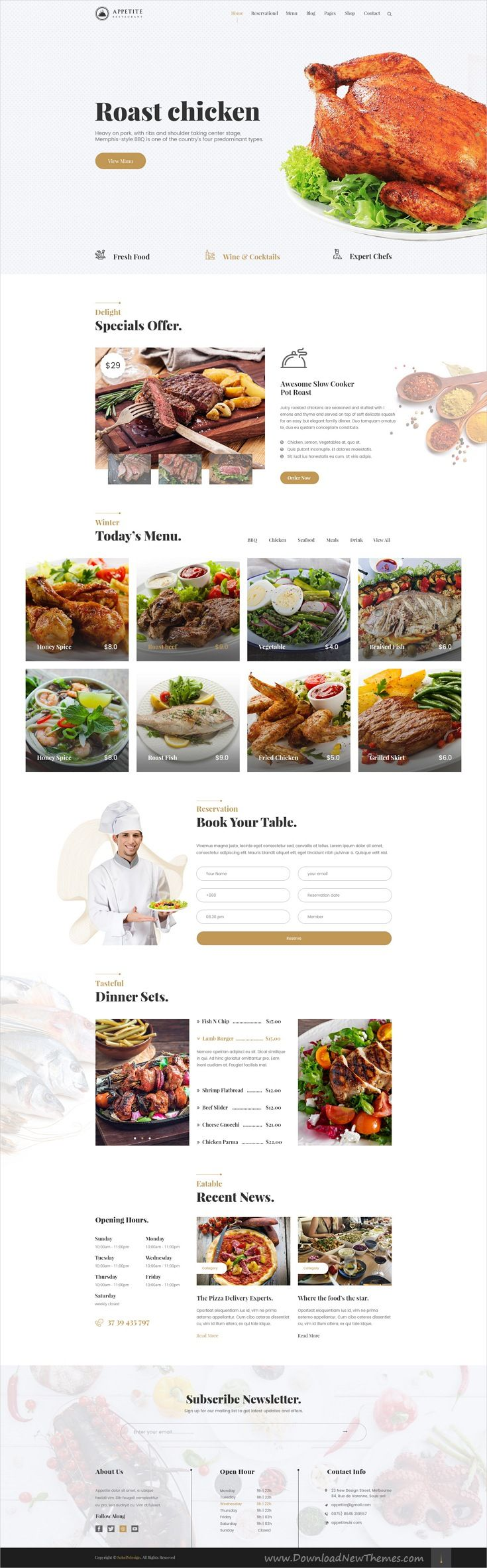 Appetite is clean and modern design PSD template for #restaurant and #cafe website with 24 layered PSD pages download now #webdevelopment