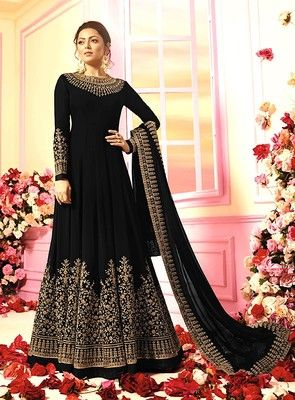 70376b7fca Black embroidered georgette anarkali suit semi stitched | Anarkali ...