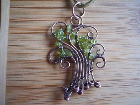 Wire Peridot Tree Pendant Green Peridot Chip beads by OurFrontYard, $23.77