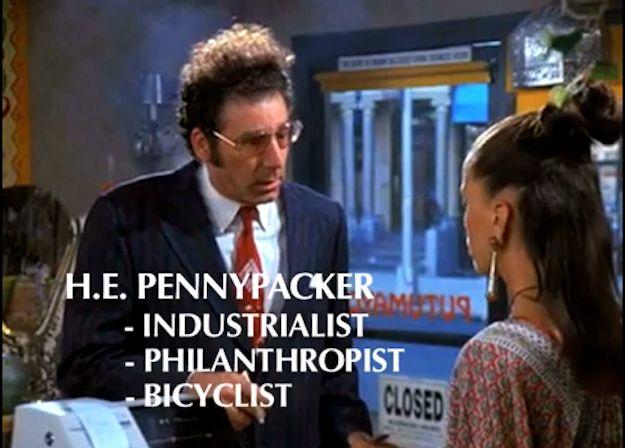 "H.E. Pennypacker - Kramer (The Brilliant Aliases Of ""Seinfeld"") | By: Sarah Karlan, via BuzzFeed, via YouTube (#seinfeld)"