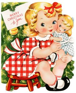retro christmas card, girl and doll clipart, vintage printable Christmas, old fashioned holiday greeting, 1950 card graphic