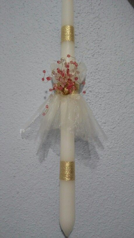 Λαμπαδα με φορεμα απο τουλι και χρυσες λεπτομερειες...by Maraki.