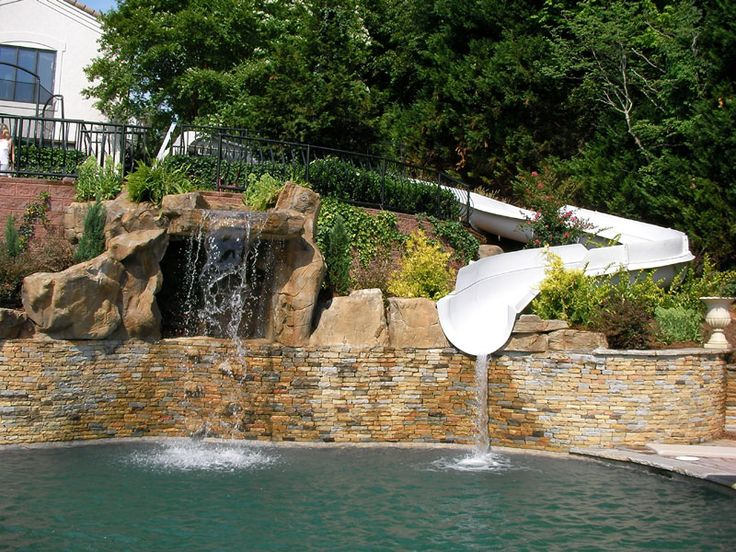 17 best images about waterslides on pinterest jets lush and caves for Swimming pools with waterslides