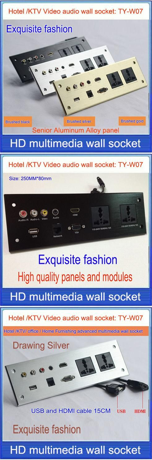 wall socket \ HD HDMI Video audio VGA NETWORK  RJ45 information outlet panel /multimedia home hotel rooms KTV wall socket TY-W07