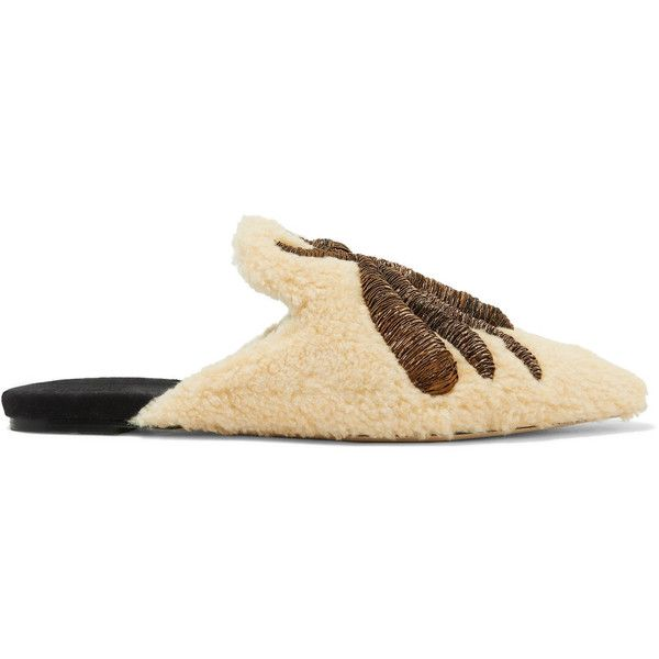 Sanayi313 Ragno embroidered shearling slippers ($1,385) ❤ liked on Polyvore featuring shoes, slippers and cream