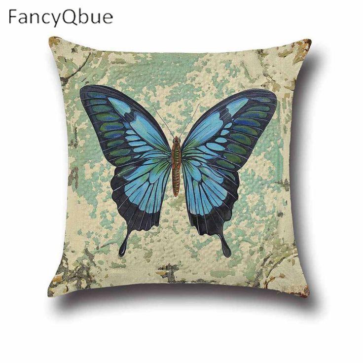 Vintage Joy Hope Butterfly Print Cushion Cover Pillow Case Housse De Coussin Capa De Almofada