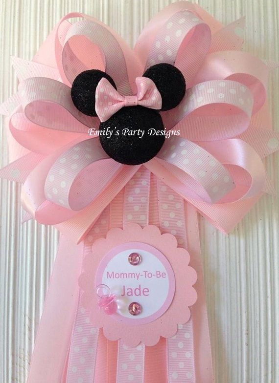 minnie mouse corsage mommytobe corsage baby shower corsage minnie mouse