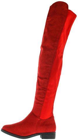 ARIANKK1 RED THIGH HIGH FLAT RIDING BOOT