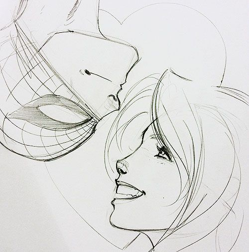 Peter and MJ sketch by J Scott Campbell