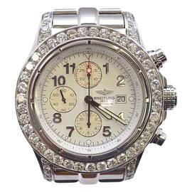 Breitling Super Avenger A13370 Stainless Steel & White Arabic Numeral Dial 48mm Mens Watch