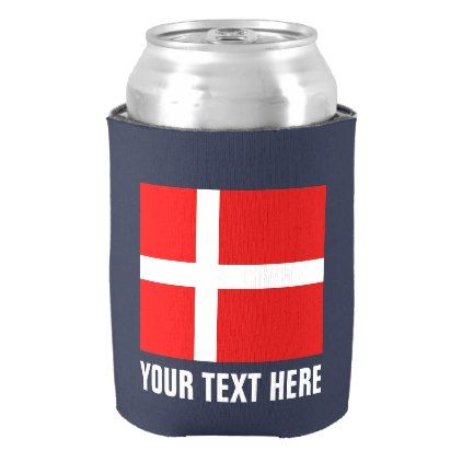 Danish flag can coolers | Denmark icon beer holder - kitchen gifts diy ideas decor special unique individual customized