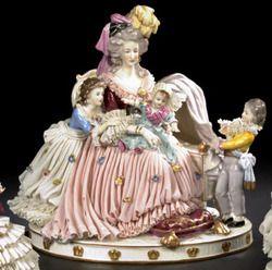 Dresden Porcelain; Figural Group, Marie Antoinette & Children, after Vigee-LeBrun, 13 inch.