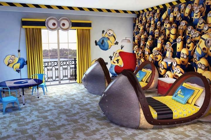 Minion Bedroom.  Could easily be turned into a nursery by replacing the beds for a baby cot. | #minions #despicableme