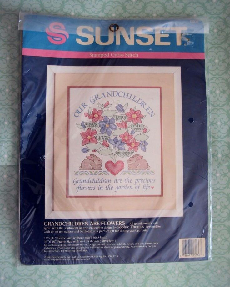 New Sunset Cross Stitch Kit Our Grandchildren are Flowers By Sophie Thomas #Sunset #stampedcrossstitch