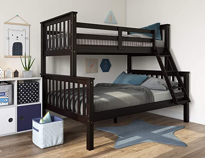 Shop The Furniture Of America Mia Twin Over Full Bunk Bed In Dark Walnut With Optional Trundle Bed Affordabl Twin Full Bunk Bed Bunk Beds Solid Wood Bunk Beds