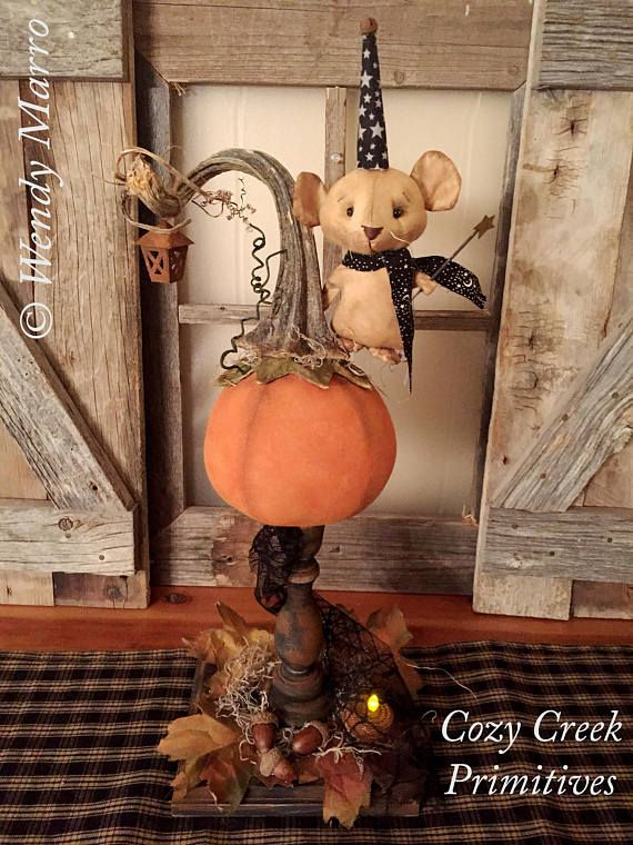 HANDMADE PRIMITIVE PUMPKIN|Folk Art Pumpkin|Halloween Pumpkin|Primitive Mouse|Handmade Pumpkin|Primitive Halloween|Primitive Fall|Decoration https://www.etsy.com/shop/CozyCreekPrimitives