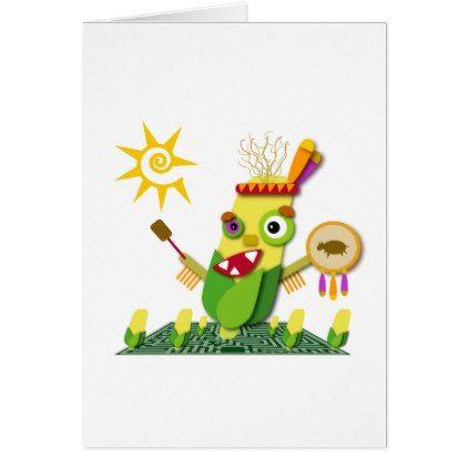 Indian Corn Thanksgiving Kawaii Cartoon Card - thanksgiving greeting cards family happy thanksgiving