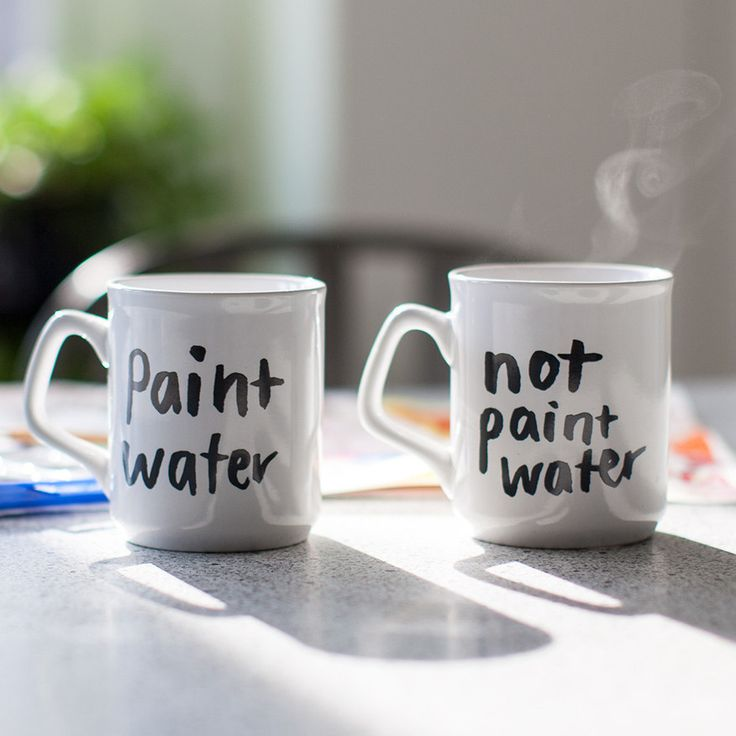 Never confuse your tasty brew with gunky paint water again. These handy mugs, lettered by illustrator Hallie Bateman, promise to prevent even the most unsavory beverage/brush rinsing mixups. Details -
