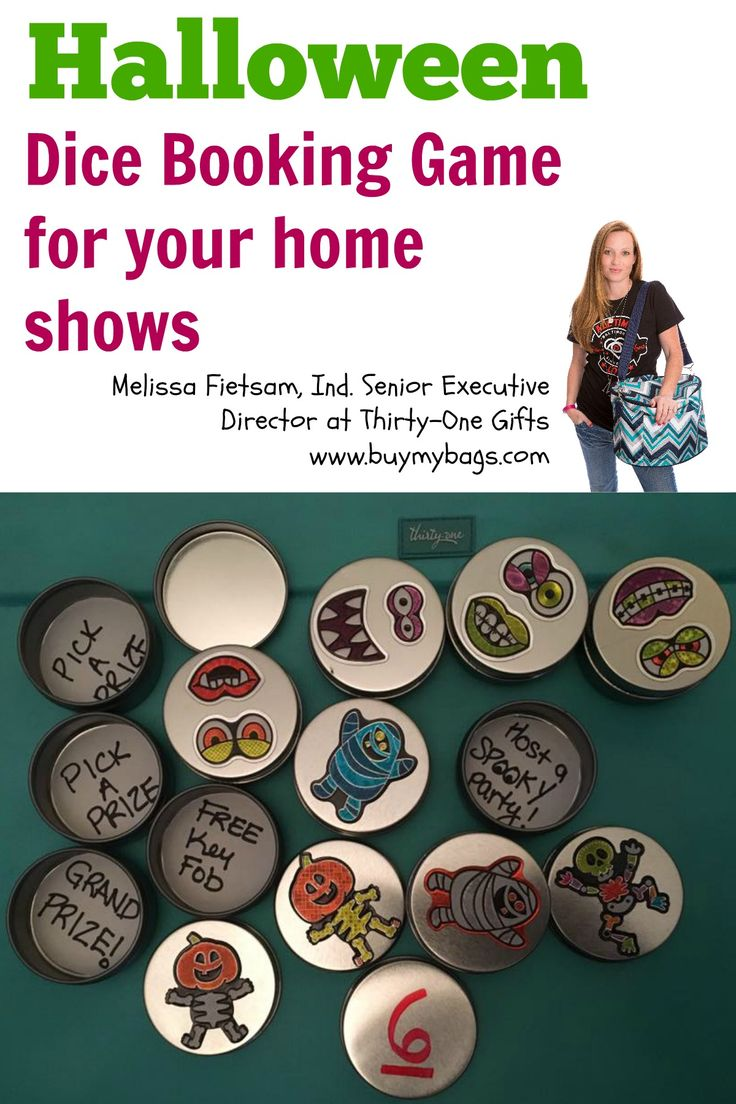 Use the Dice Booking Game with a fun halloween twist for your Direct Sales business: Melissa Fietsam, Ind. Senior Executive Director at Thirty-One Gifts  http://www.buymybags.com  #31 #31bag #31bags #thirtyone #thirtyonegifts #halloween #bookinggame #homeshow #homeparty