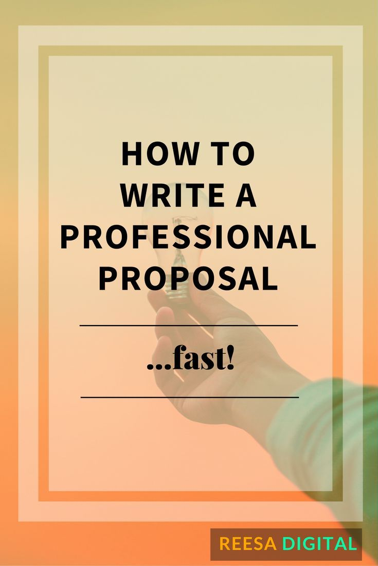 How to Write a Professional Proposal     Fast!   Online Business