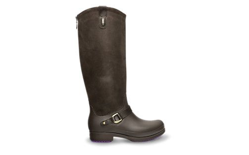 The Crocs Womens-Equestrian Suede Tall Boot. I hate to say it because I HATE Crocs (generally speaking) but I think I have to have these, LOVE the purple zipper!