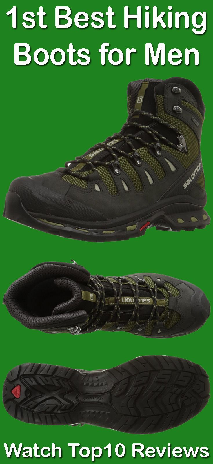 Salomon Men's Quest 4D 2 GTX Hiking Boot: Salomon Quest 4D 2 GTX features Gore-Tex waterproof protection, rugged lacing hardware and protective rubber toe cap. It has Salomon 4D Chassis for stability/protection and Molded EVA Ortholite removable footbed. Our first best hiking boots for men provide outstanding stability and grip, with a more ergonomic tongue for improved comfort