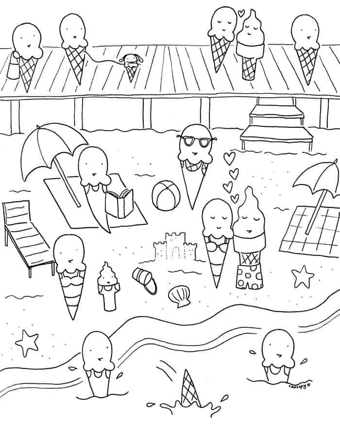 Summer Party Coloring Pages Summer Coloring Pages Cool Coloring Pages Beach Coloring Pages
