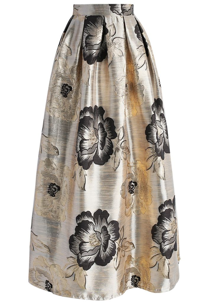 Magnificent Peony Jacquard Maxi Skirt - New Arrivals - Retro, Indie and Unique Fashion
