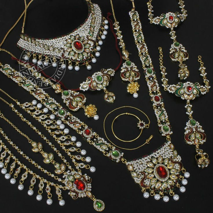 HUMAIRAA MAROON GREEN PEACOCK BRIDAL NECKLACE @ Indiatrend For $134.99USD With Free Shiping Worlwide