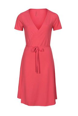 New Coral colour Wrap Dress made from bamboo