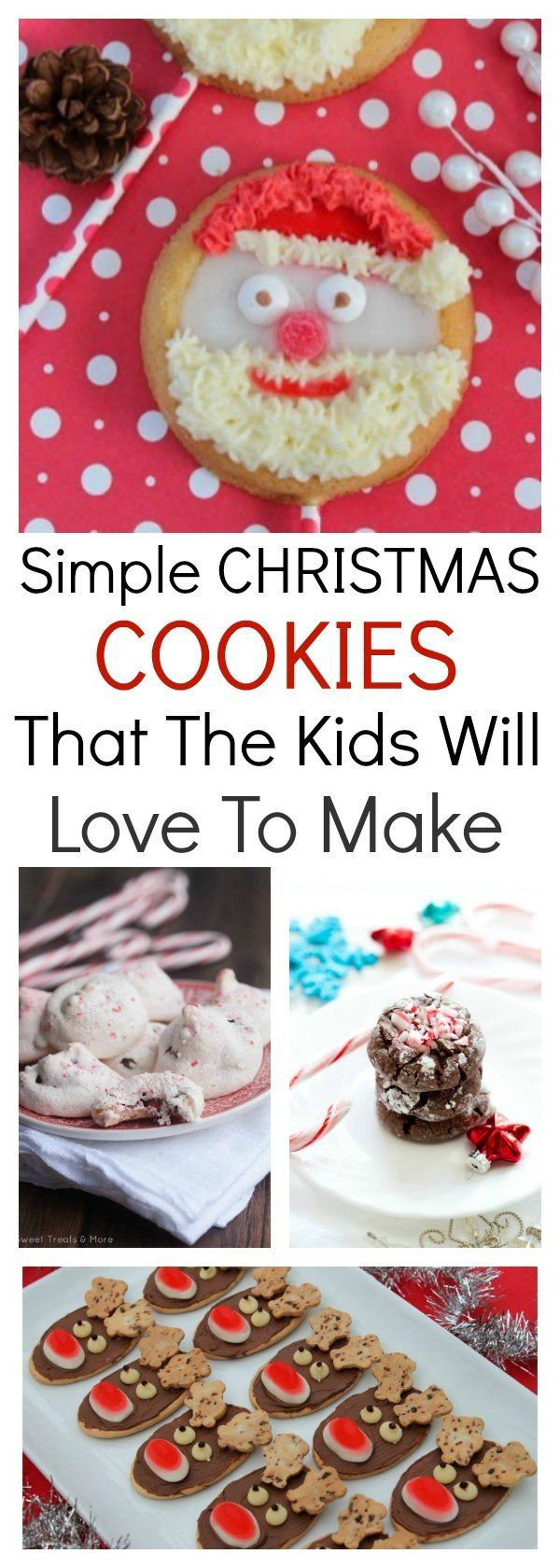 This collection of simple Christmas cookies will have you in the kitchen with the kids quick smart. Cute, easy & delicious, they are perfect for Christmas. #Christmas #Cookies #Kids