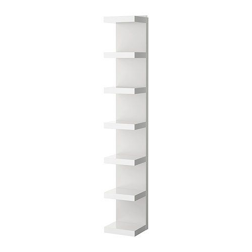 "$49.99  Product dimensions  Width: 11 3/4 ""  Depth: 11 ""  Height: 74 3/4 ""  Max. load: 55 lb  Max load/shelf: 7 lb  LACK Wall shelf unit IKEA Narrow shelves help you use small wall spaces effectively by accommodating small items in a minimum of space."