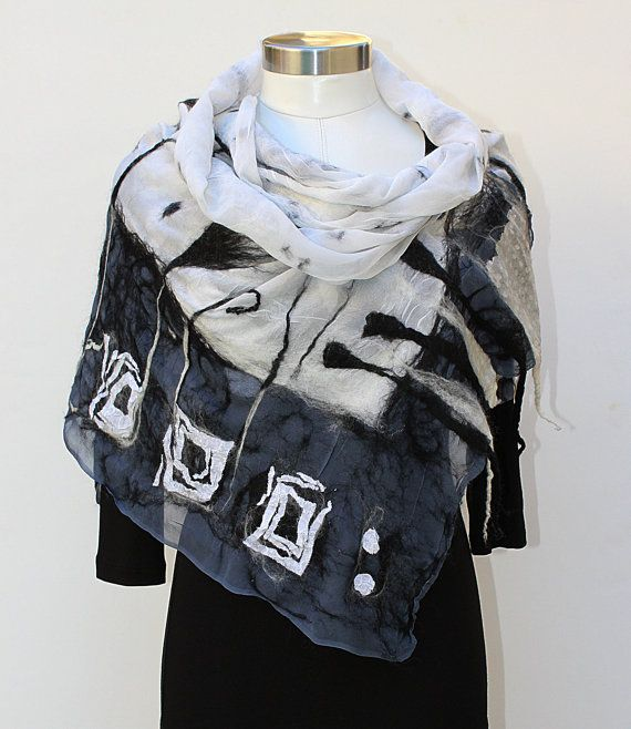 Abstract Black/White/Grey Nuno Felted Large Scarf/Wrap 18'X67'