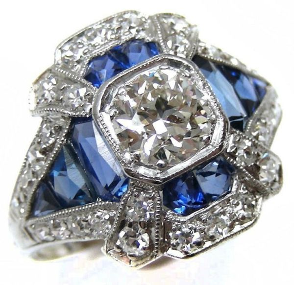 Art Deco sapphire and diamond ring, circa 1910. It is millegrain set with a…