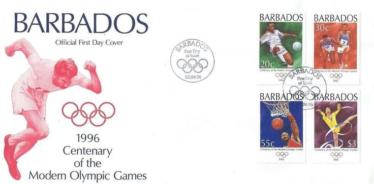 Barbados First Day Cover 1996 FDC - Centenary Olympic Games Listing in the Barbados (1966 onwards),South & Central America,Stamps Category on eBid United Kingdom