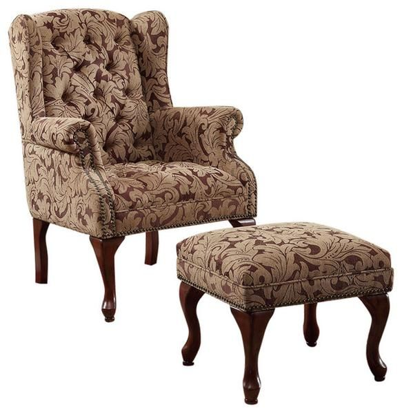 Wingback Chair With Ottoman Ovalmag Com In 2020 Chair And Ottoman Set Tufted Wing Chair Chair And Ottoman