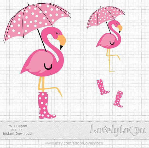 Pink flamingo clipart a flamingo with umbrella by Lovelytocu, $3.50