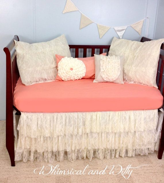Shabby Chic Salmon and Lace Baby Crib Bedding - Salmon Pink and Ivory - Ruffled Tiered Lace Crib Skirt - Cotton Crib Sheet - 4 Pillow Shams on Etsy, $175.00