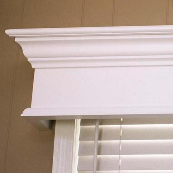 White wood valance over windows in living room. from celing  Pleasanton Custom Wood Window Cornice