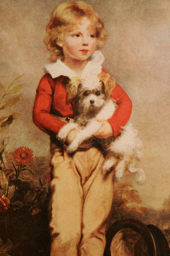 """Famous """"Boy with Dog"""" Painting mid 1800s"""